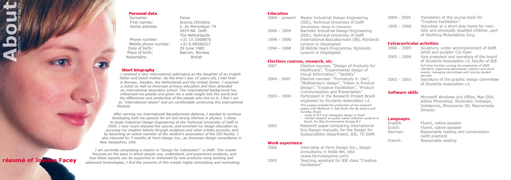 joanna facey industrial design engineer - Industrial Designer Resume